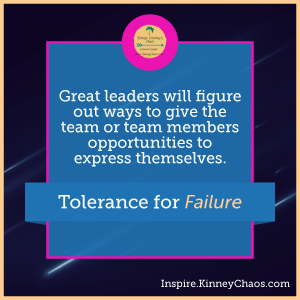 Great leaders will figure out ways to give the team or team members opportunities to express themselves.