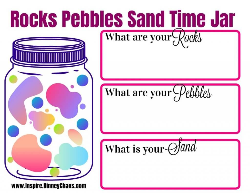 Rocks Pebbles Sand time jar worksheet to help you figure out where and what you are doing to prioritize your time.