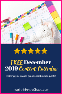 FREE December 2019 Content Calendar to use when scheduling your Social Media posts!