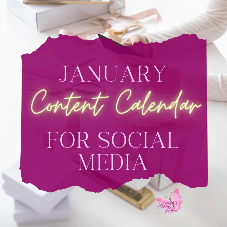 January Content Calendar for Social Media