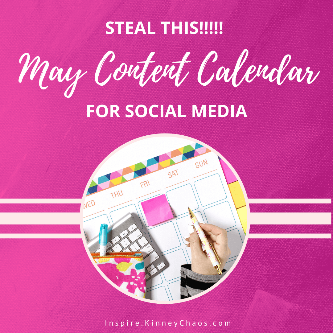 Get your FREE May Content Calendar full of prompt ideas to help you increase engagement, save you time, and help you identify natural sales ARC's.