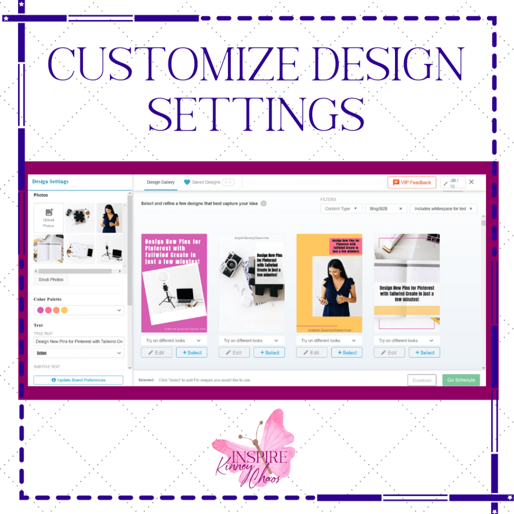 Tailwind Create customize design settings