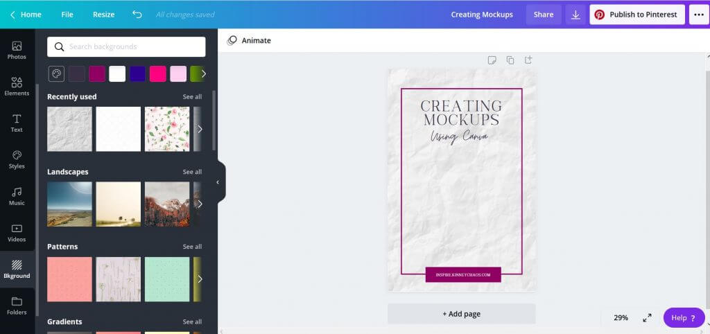 Creating mockups with Canva