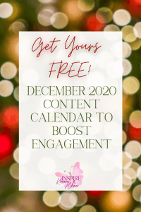 Do you struggle with knowing what to post on Social Media? Do you wish you just had a couple of quick and easy ideas you could incorporate to post quick? Don't fret! I got you covered with our December 2020 Content Calendar.