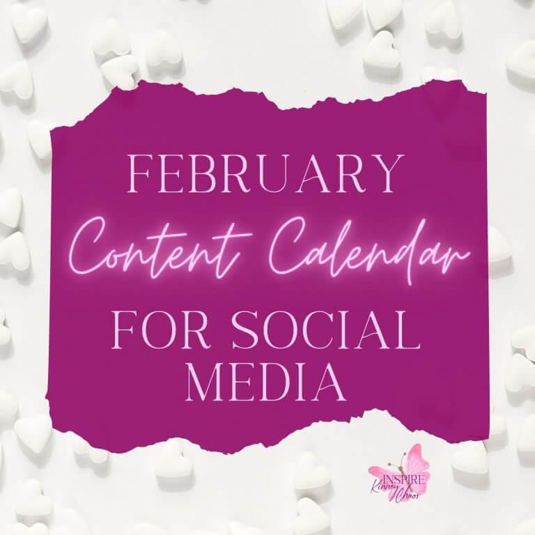 February Content Calendar for Social Media